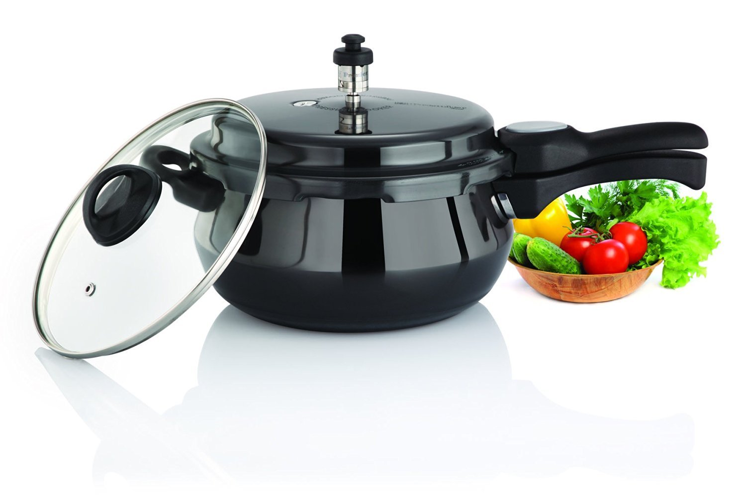 Premier Cucina Trendy Black 3 Litre Handi Pressure Cooker with FREE GLASS LID