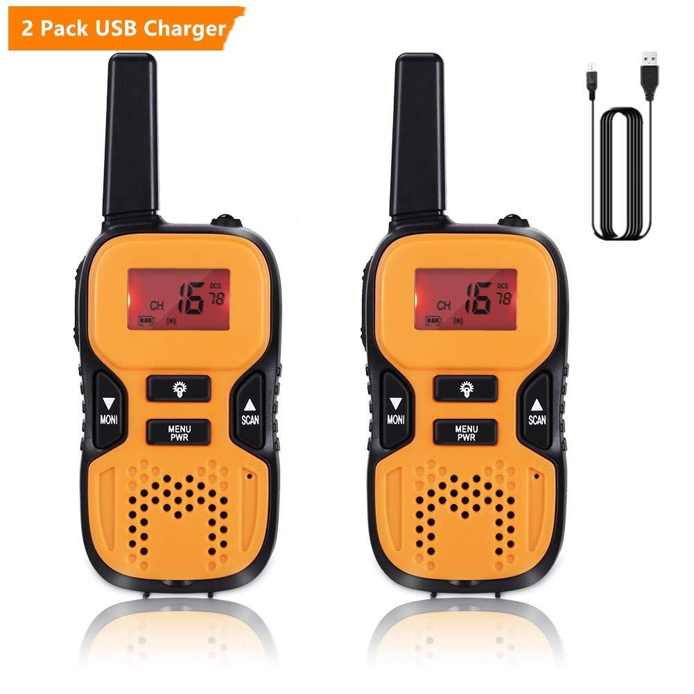 GHB Walkie Talkies for Kids, 22 Channel Walkie Talkies 2 Way Radio 3 Miles up to 5 Miles FRS/GMRS Handheld Mini Walkie Talkies for Kids (Pair) (Orange)