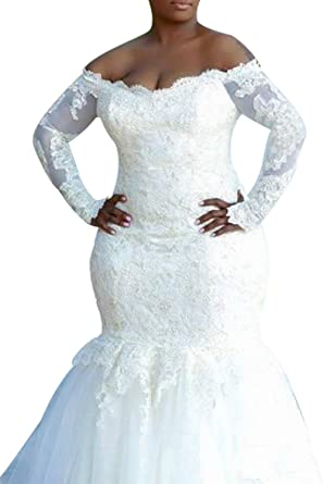 Dreamdress Womens Mermaid Wedding Dresses Plus Size Long Sleeve