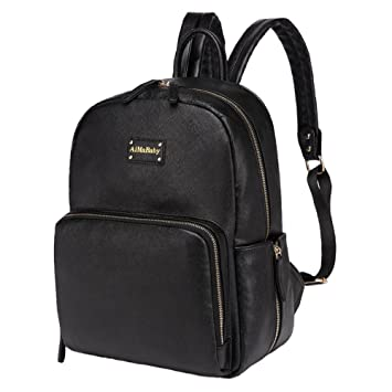 Gizwise Leather Backpack Diaper Bag Toddle Baby Large Organizer Bag for  Womens Mens Black Sleek Faux 601ac28627