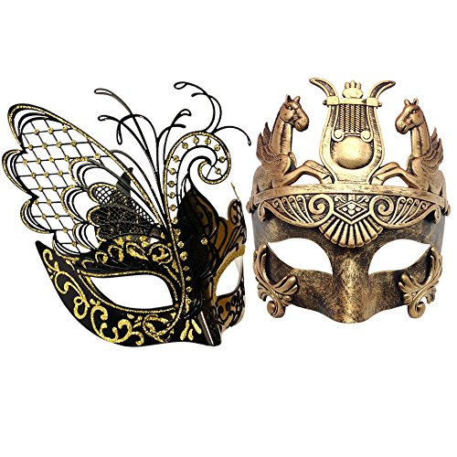 CCUFO Gold/Black Flying Butterfly Women Mask & Gold Roman Warrior Men Mask Venetian Couple Masks For Masquerade/Party/Ball Prom/Mardi Gras/Wedding/Wall Decoration … (Masquerade Couple Masks)