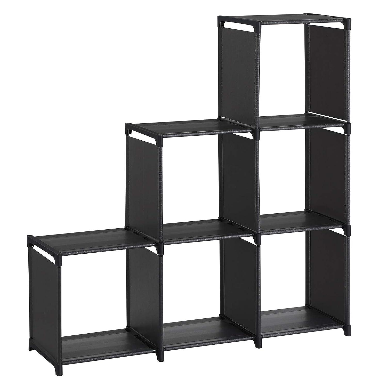 SONGMICS 3-tier Storage Cube Closet Organizer Shelf 6-cube Cabinet Bookcase Black ULSN63H