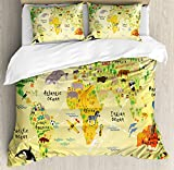 Kids Decor King Size Duvet Cover Set by Ambesonne, Educational World Map Africa America Penguins Atlantic Pacific Ocean Animals Australia Panda, Decorative 3 Piece Bedding Set with 2 Pillow Shams
