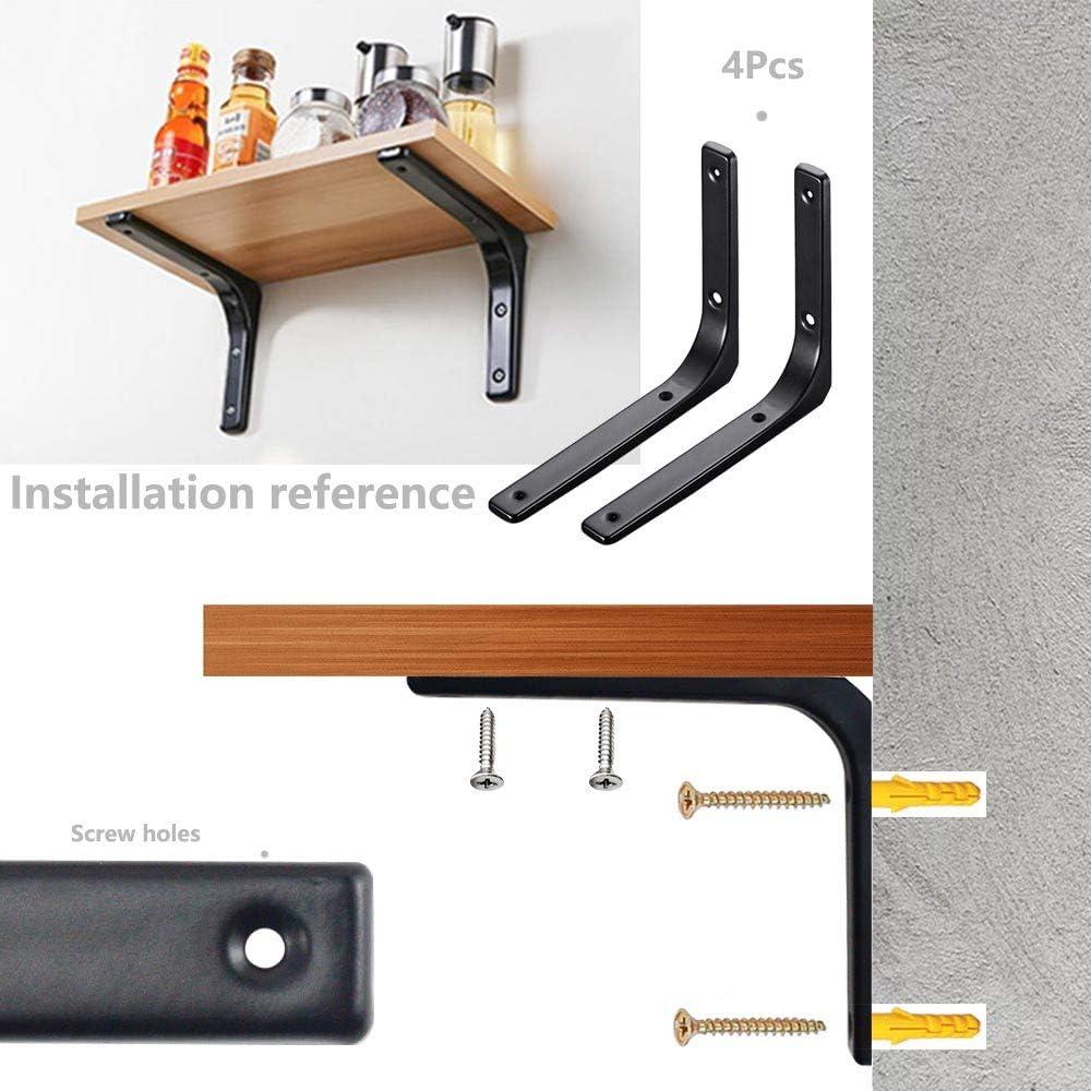 Rayong 4Pcs Equerre Etagere 150mm Support d/'/Étag/ère Equerre Murale Noir /Équerre de Fixation Murale pour /Étag/ères Ouvertes de Bricolage