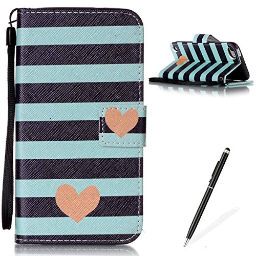 iPod Touch 5/6 Case,Slim Folio PU Leather Wallet Case with Inner TPU Bumper MAGQI Stand Function [Magnetic Closure] Flip Cover Case for iPod Touch 5/6-Stripe Heart