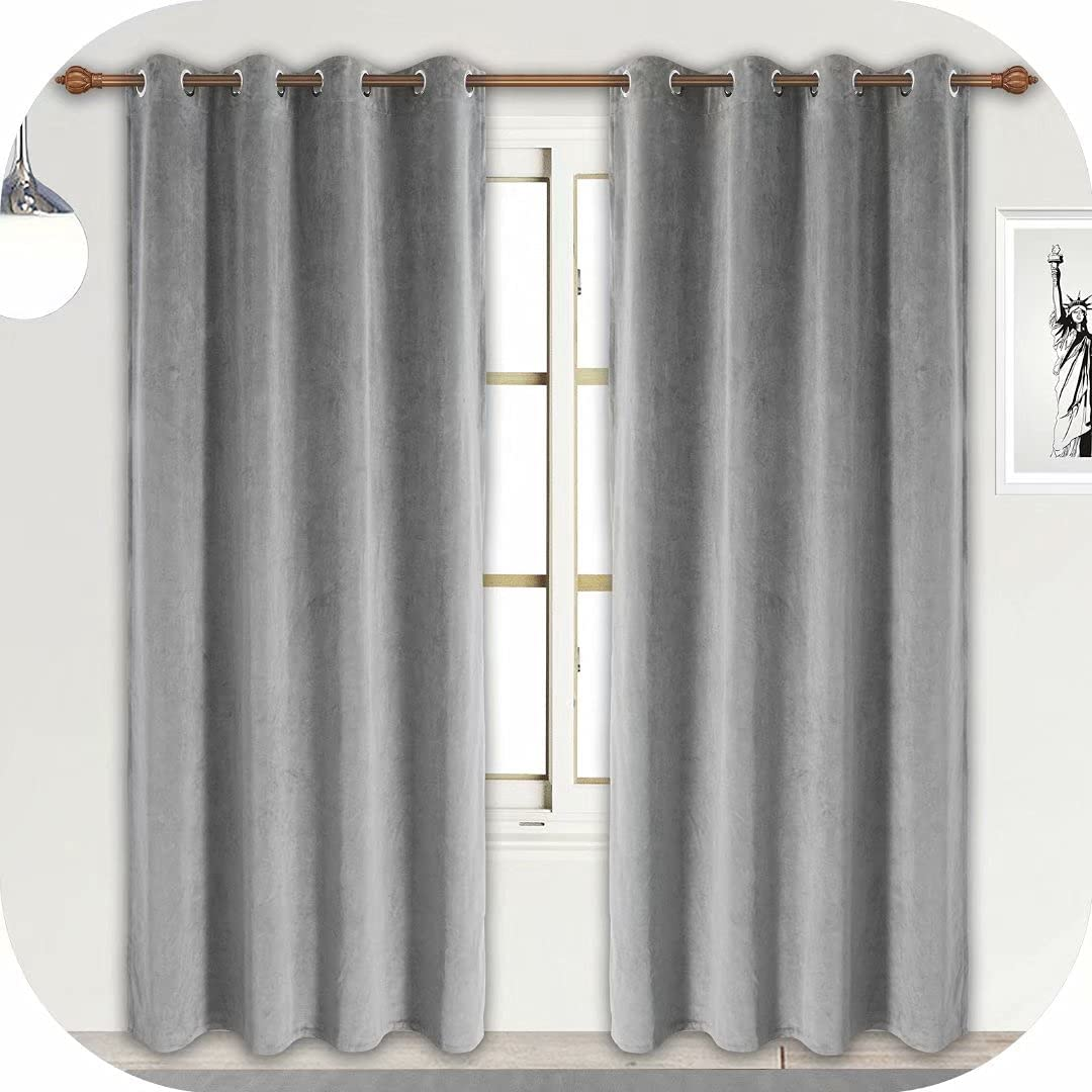 ZHAOFENG Grey Velvet Curtains with Grommet, Blackout SoftLuxury ThickSunlight Dimming Heat InsulatedPrivacy ProtectVelour Drapes for Bedroom and Office, 2 Panels, W52 x L84 Inches