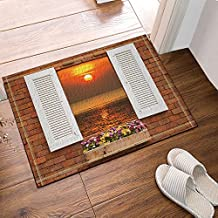 Sunset Scene Bath Mat, Old Wooden Windows Frame On Stone Wall And A view Of Tropical Sea At Sunset Time Non-Slip Floor Entryways Outdoor Indoor Front Door Mat, 60x40cm Bath Rugs