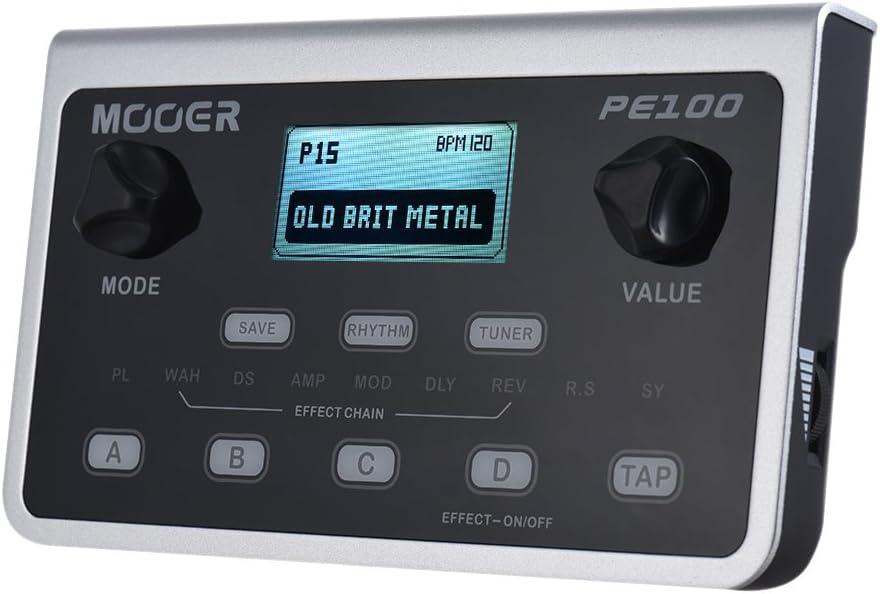 Muslady MOOER PE100 Procesador Multiefectos Portátil Pedal de Efectos de Guitarra 39 Efectos 40 Patrones de Batería 10 Metrónomos Tap Tempo