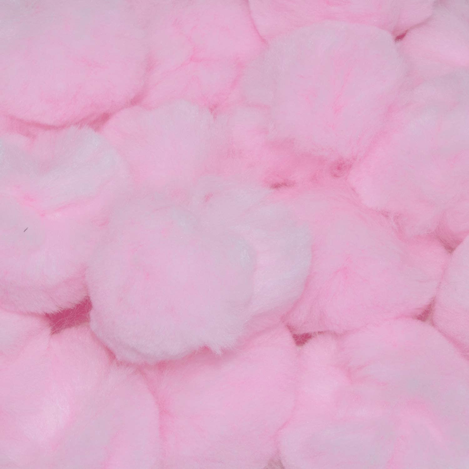 3 inch baby pink with sparkles pom poms
