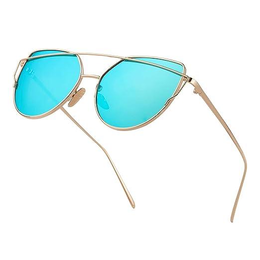 e0b294165d3 Fashion Oversized Cat Eye Mirrored Modern Sunglasses Stylish Flat Lenses  Metal Frame Sun Glasses Men women
