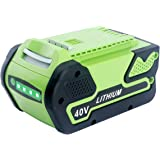 Biswaye 29472 6.0Ah 40V Lithium Battery Replacement for GreenWorks 40V G-MAX Power Tools 29462 29252 20202 22262 25312…