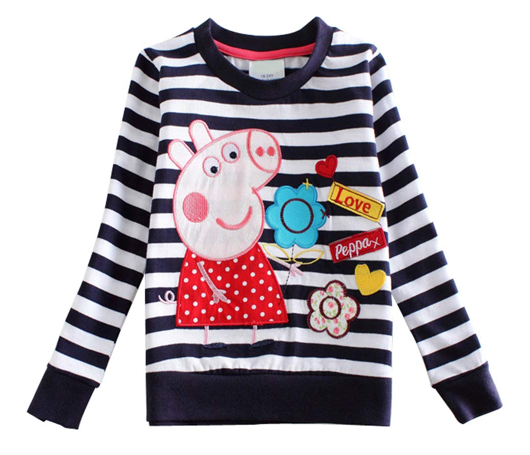 LEMONBABY Girls Peppa Pig Cartoon Long SleeveT-Shirt