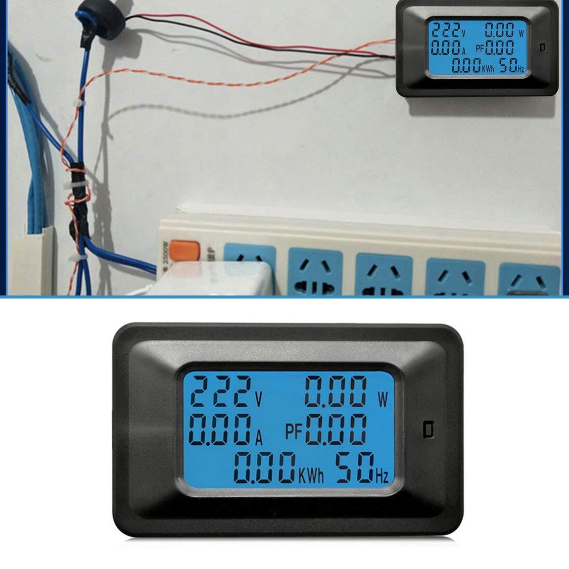 noir 100A AC LCD Panneau Num/érique Watt M/ètre Moniteur Voltm/ètre Amp/èrem/ètre Testeur de Tension pour Appareils M/énagers