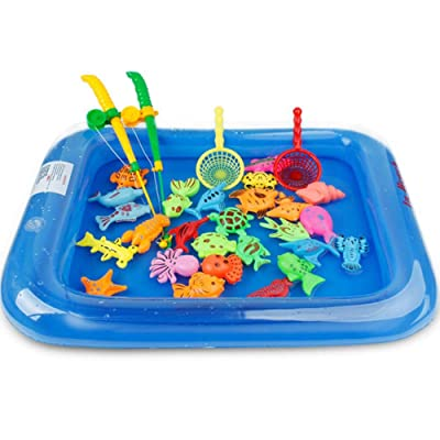 Magnet Fishing Toy For Kids, Floating Fishing Game Kids Bath Toys Fishing Magnetic Toys Inflatable Swimming Pool Bathtub Toy Set For Early Education 26PCS: Kitchen & Dining