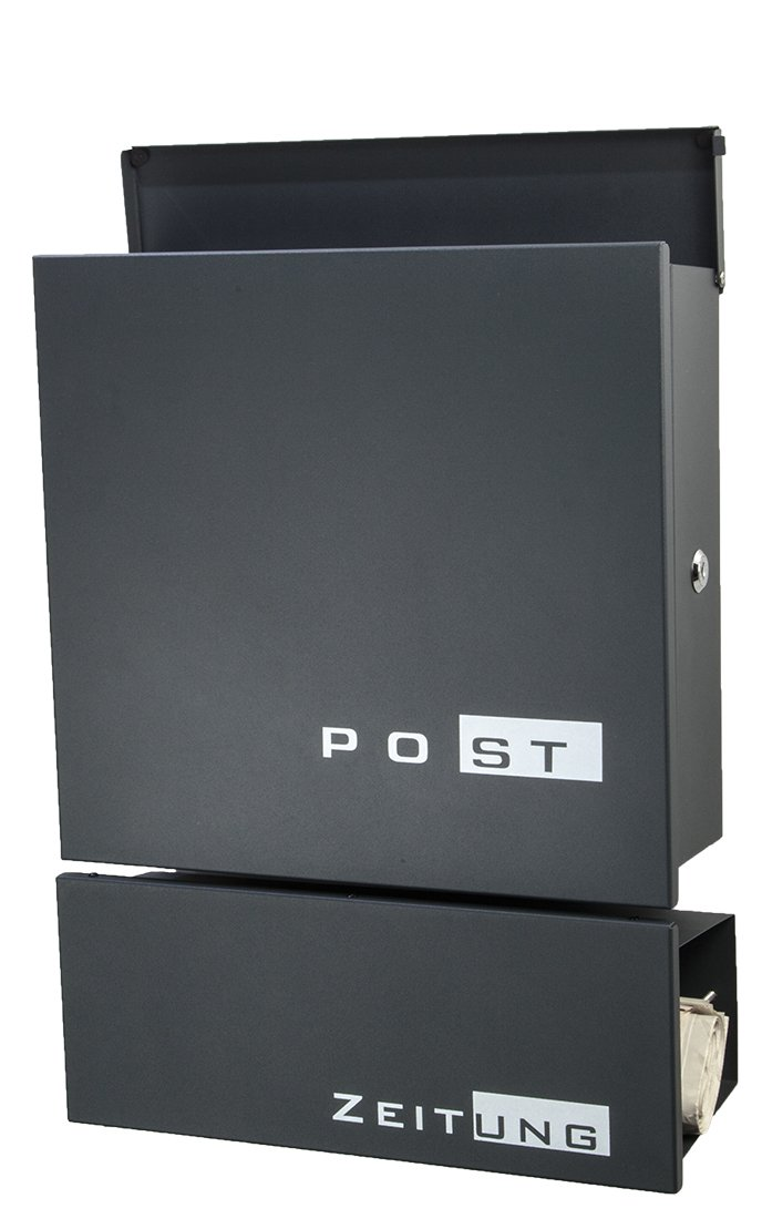 Designer Briefkasten 776 Edelstahl garu-carbon//anthrazit mit//ohne Zeitungsfach
