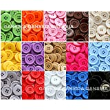 GANSSIA 15 Colors Buttons 0.88'' (22.5mm) Sewing Button Multi Colored Pack of 105 with Box ( Each Color 7 Pcs)