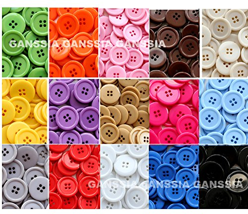 Ganssia 15 Colors Buttons 0 88  22 5Mm  Sewing Button Multi Colored Pack Of 105 With Box   Each Color 7 Pcs