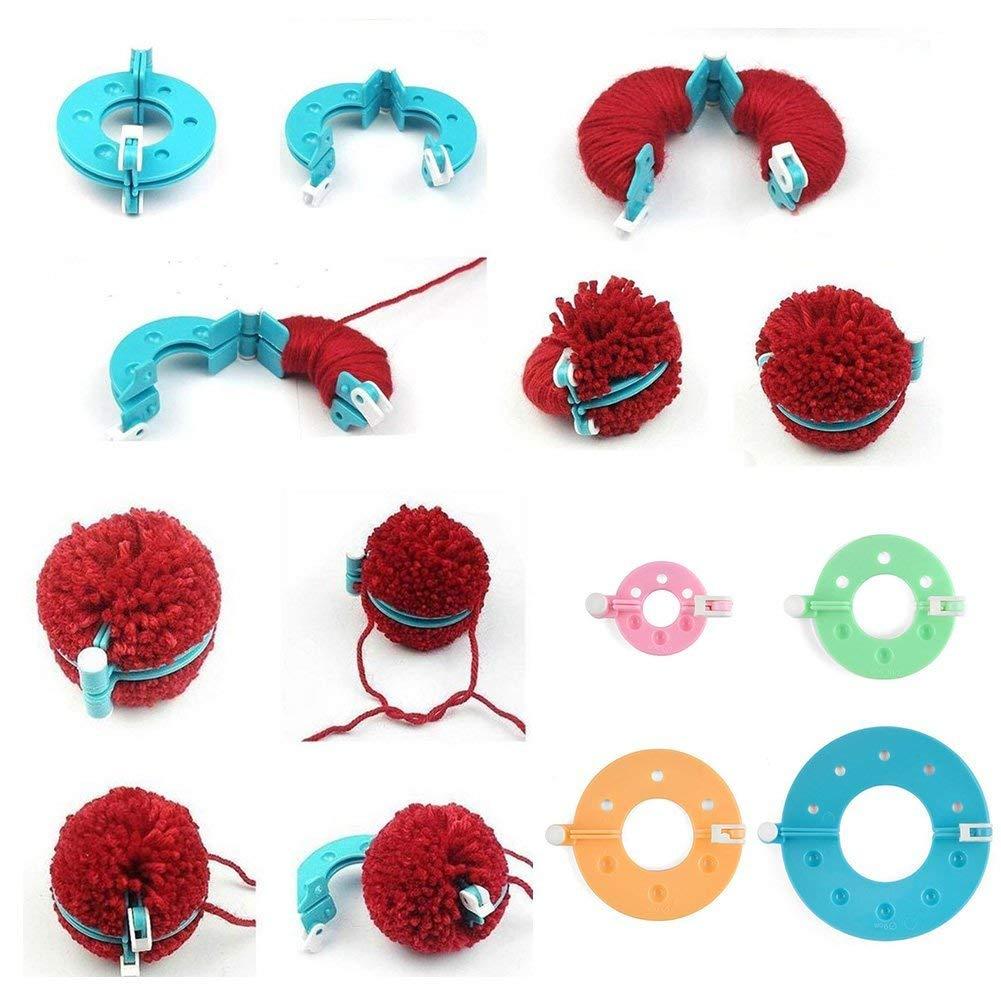 Fai da Te Vidillo Kit per Realizzare Pompon in 4 Misure con Un Paio di Forbici per lavori a Maglia in plastica per Realizzare Pompon a Quadrifoglio per Bambini
