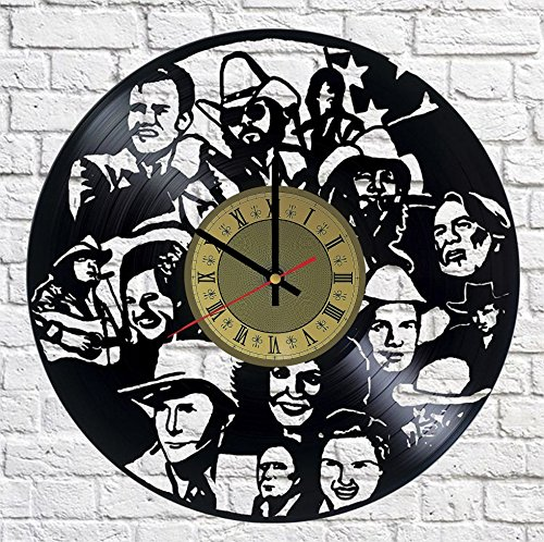 Country Music Vinyl Clock | Rockabilly Johnny Cash | Best Gift for Western Fans | Original Wall Home Decor ()
