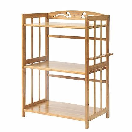 Estantes y soportes para ollas y sartenes HWF 3-Tier Kitchen Microwave Oven Rack Bamboo