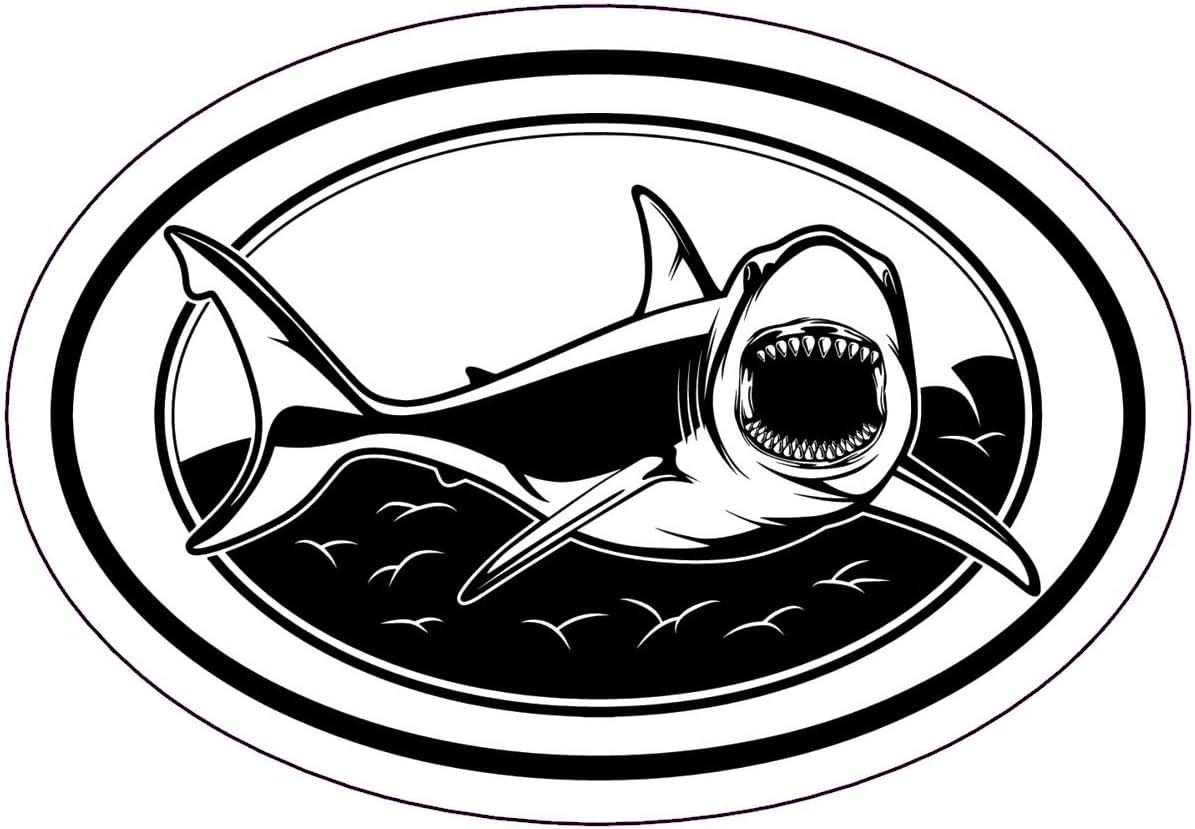WickedGoodz Oval Great White Shark Vinyl Decal - Ocean Beach Bumper Sticker - Vacation Shark Gift