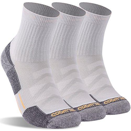 Running Socks, ZEALWOOD Men Anti Odor Antibacterial Dri Fit Performance Work Training Socks Cushion Multi Performance Padded Hiking/Outdoor Crew Socks Compression Travel Socks 3 Pairs-Light Grey Large -