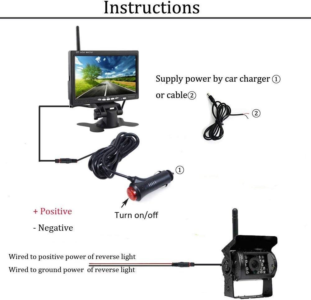 Kit per telecamera posteriore HD 12 V adatto per camion 24 V monitor di sicurezza da 7 pollici con telecamera di retromarcia senza fili furgone fuoristrada e camper