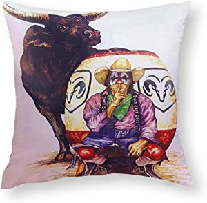 Wonderllty Smart Rodeo Clown and Bull Pillowslip Unique Custom Square Throw Pillow Cover Personality Cushion Cover Home Decorative Pillowslip with Zipper for Sofa Couch