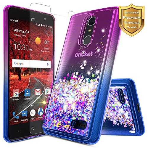 NageBee Glitter Liquid Quicksand Case Compatible ZTE Blade Spark (Z971) / ZMax One (Z719DL) / Grand X4 (Z956) w/[Tempered Glass Screen Protector] Flowing Sparkle Bling Clear Cute Case -Purple/Blue
