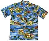 3XL Blue Aloha Republic Men's Vintage Woody Aloha Shirt