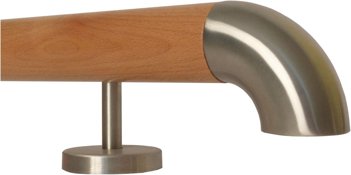 L/änge 30-500 cm aus einem St/ück//zum Beispiel L/änge 200 cm mit 3 gerade Halter Buche Holz Treppe Handlauf Gel/änder Griff gerade Edelstahlhalter Enden =Radius gefr/äst
