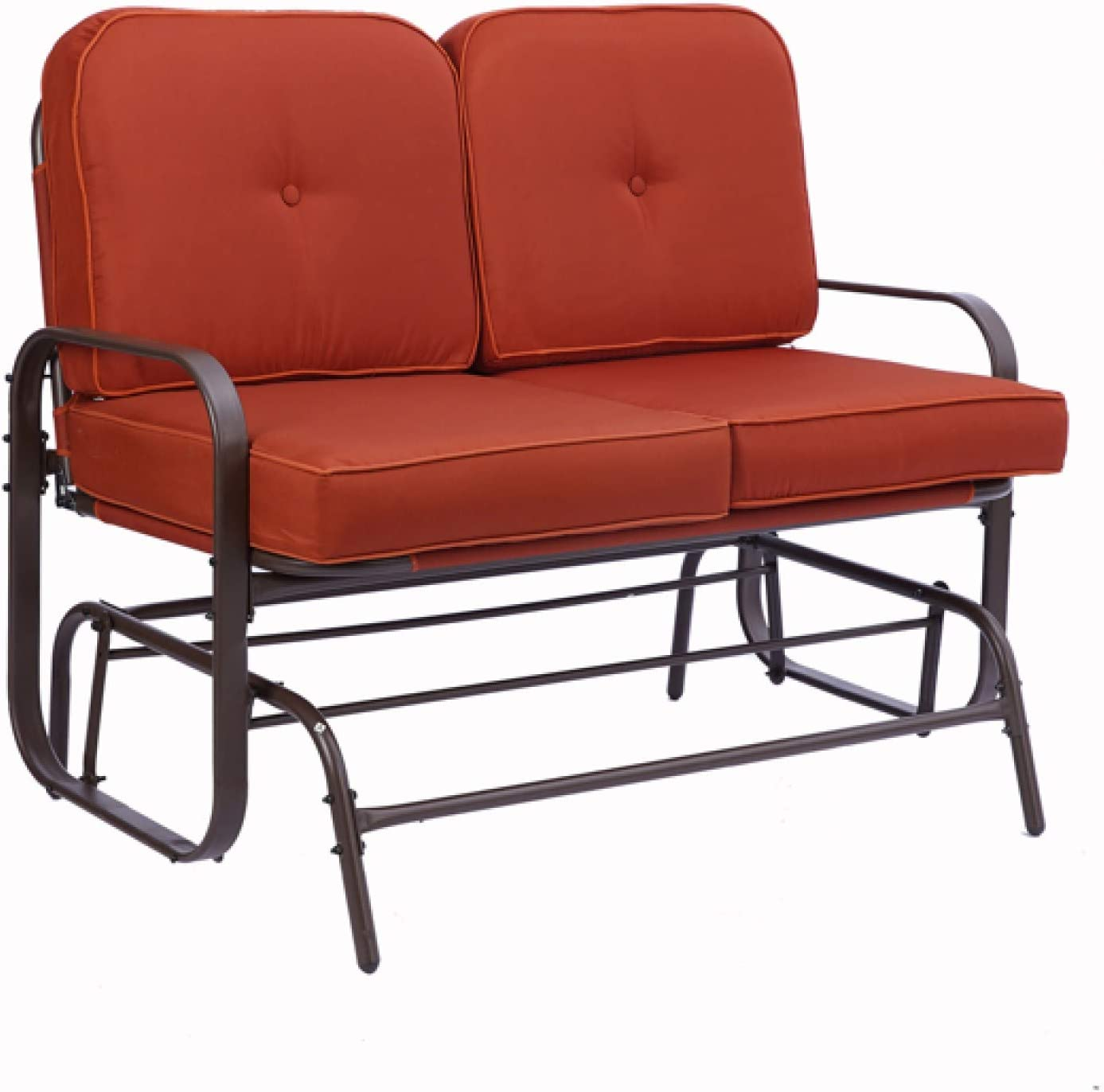 qianbo31 Garden Love seat, Outdoor Swing Glider Rocking Chair,Patio Bench for 2 Person, Double Sofa,Patio Steel Frame Chair Set with Cushions, Red(1piece,pic)