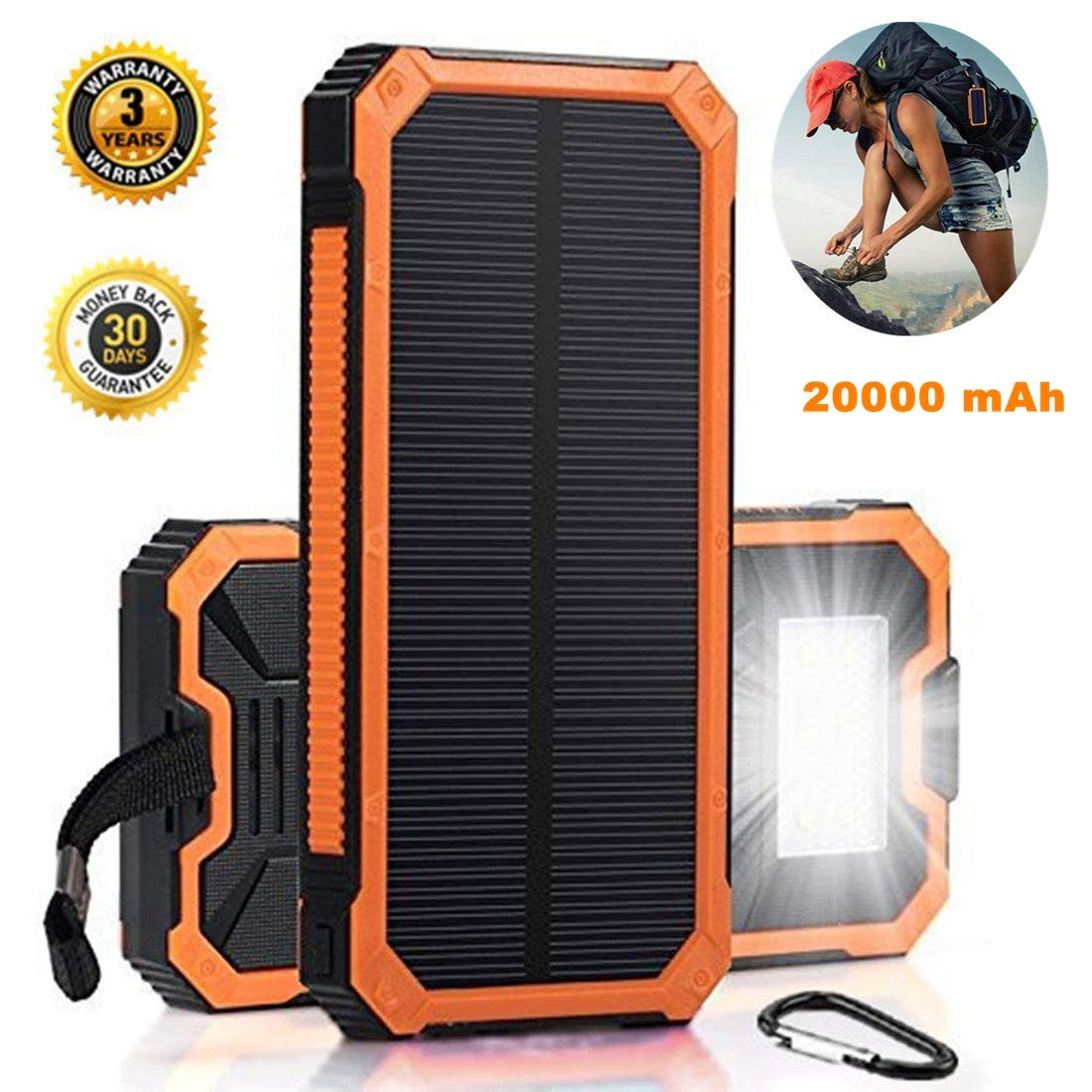 the latest 6fdd3 07537 Solar Charger Battery Bank Solar Phone Charger 20000mah Solar USB Charger  LED Light Solar Power Bank Portable Solar Power Bank Waterproof Solar Phone  ...