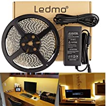 LEDMO Flexible LED Strip Lights Kit,Super Bright 300 Units SMD2835 LEDs, Waterproof,DC12V LED Light Strips,Warm White 2800K, LED Tape Light+5A Power Supply