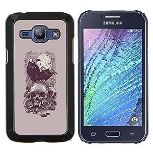 YiPhone /// Prima de resorte delgada de la cubierta del caso de Shell Armor - Cuervo Poe cráneo de la muerte del vampiro gris - Samsung Galaxy J1 J100
