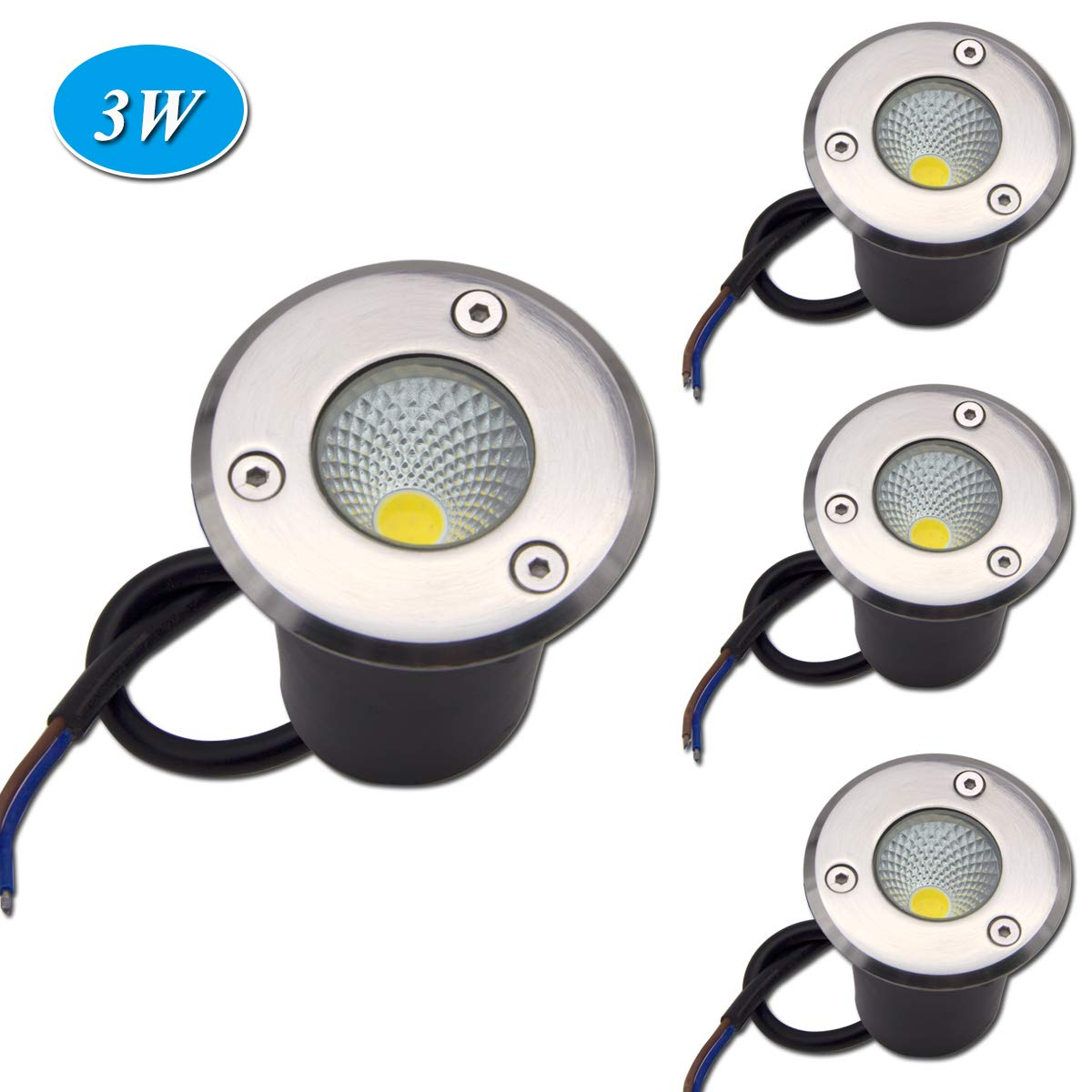 LAVAED 4 Pack Low Voltage Landscape Lights COB 3W 12V Led Pathway Lighting Waterproof IP67 Warm White Outdoor Spotlights Trees Flags In-ground Lights ...
