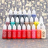 Permanent Microblading Makeup Tattoo Ink Set 23 Colors Tattoo Pigment Kit for Cosmetic PMU Rotary Eyebrow Lip Makeup15ml