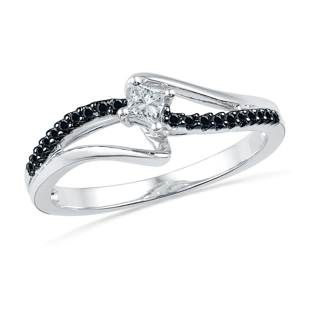 10KT White Gold Princess Round Diamond Black and White Promise Ring (1/6 CTTW)