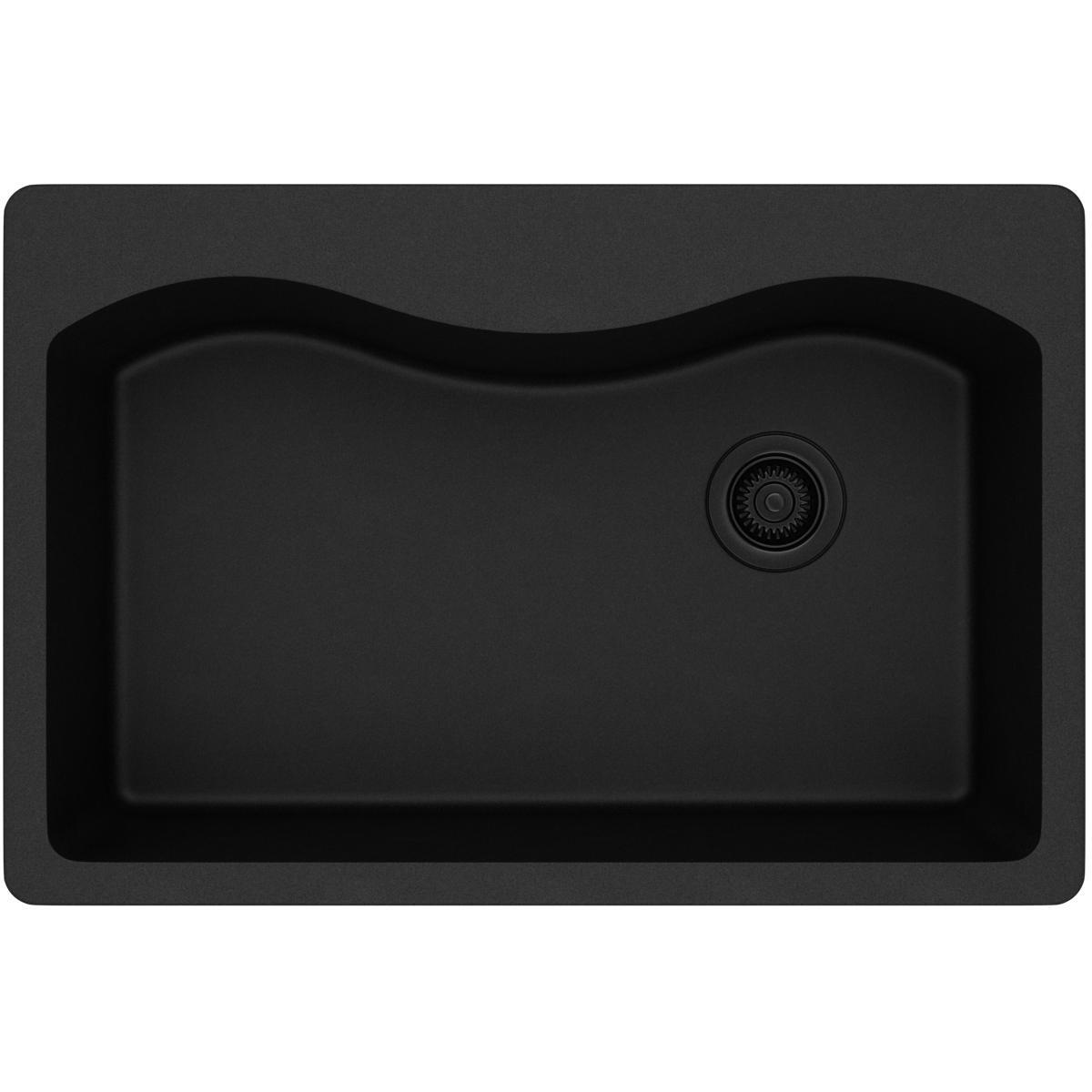 Elkay ELGS3322RBK0 Quartz Classic Single Bowl Drop-in Sink, Black