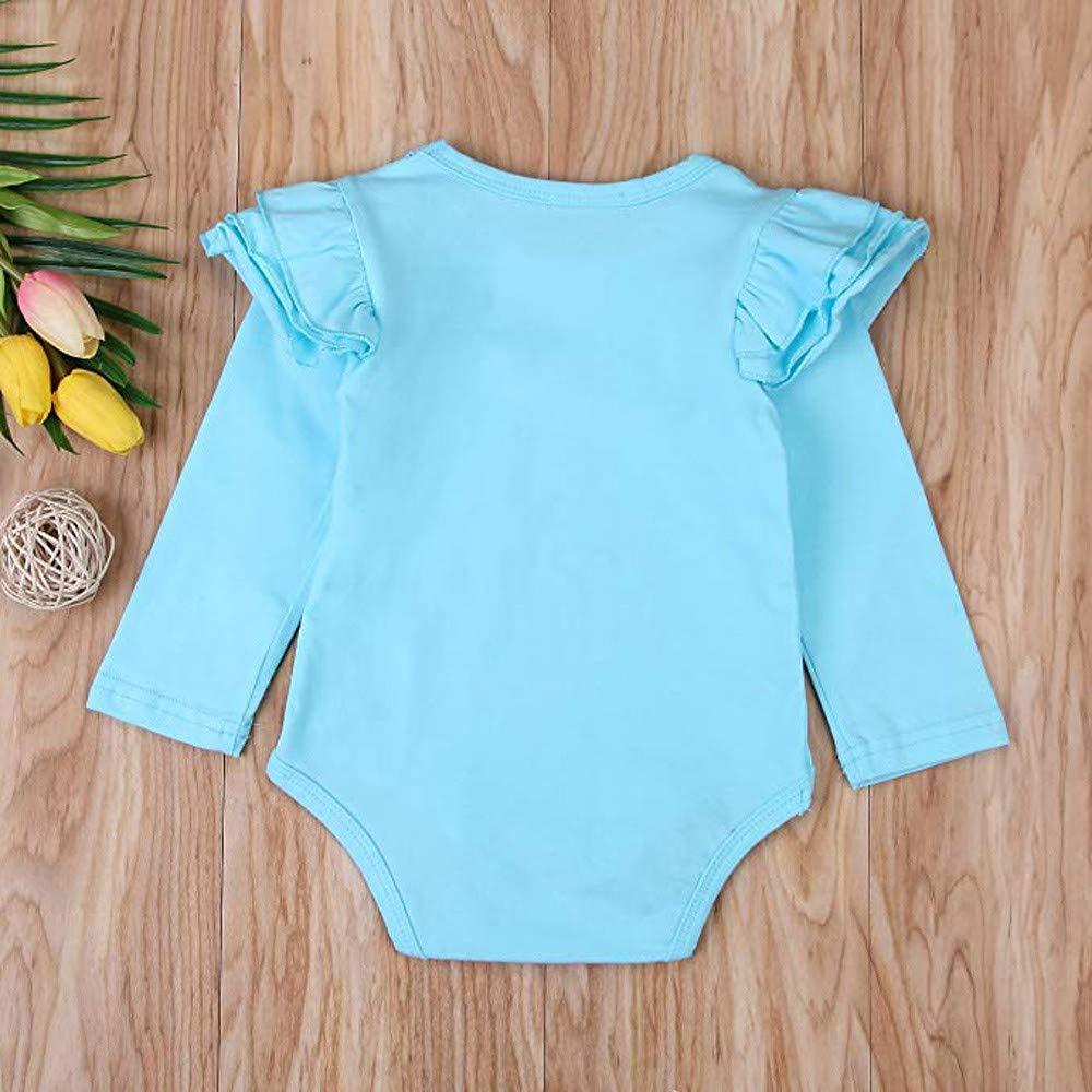 XXYsm Baby Body Tops Strampler M/ädchen Blusen T-Shirts R/üschen Langarm Einfarbig Oberteile