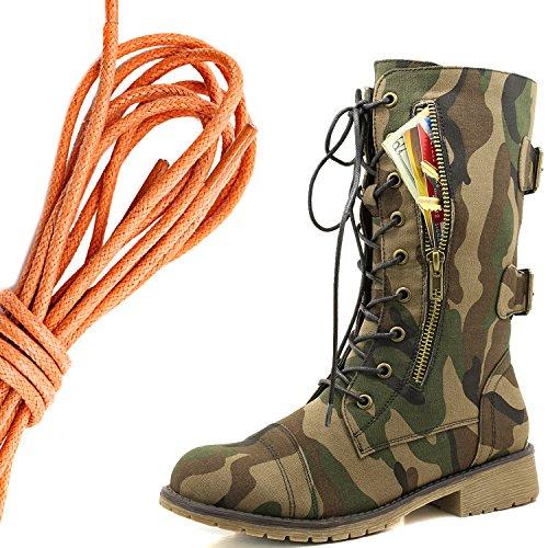 Dailyshoes Womens Militaire Lace Up Boucle Bottes De Combat Mi Genou Haute Carte De Crédit Exclusive Poche, Orange Armée Classique
