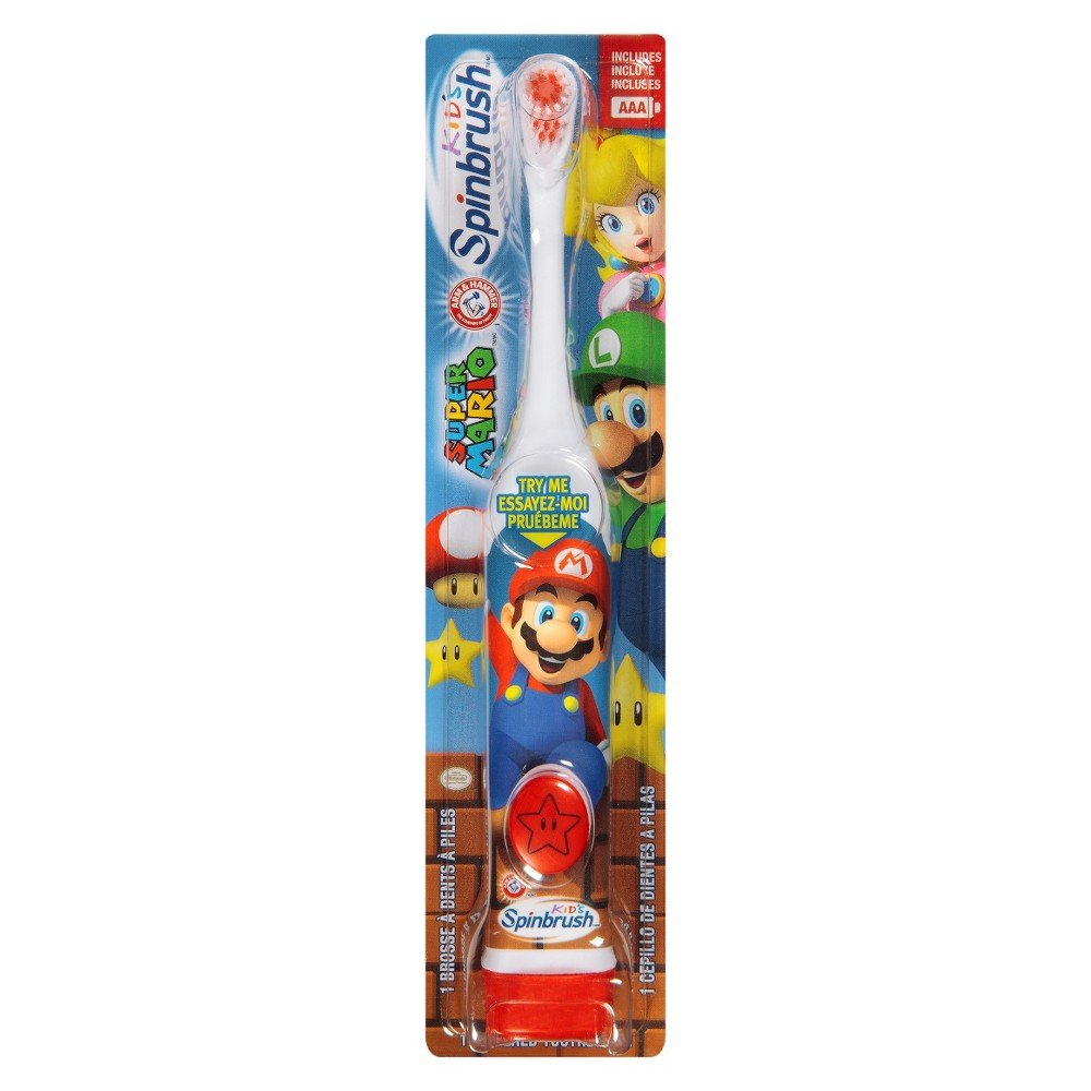 Amazon.com: ARM & HAMMER Kids Spinbrush Powered Toothbrush, Super Mario 1 ea (Pack of 3): Beauty