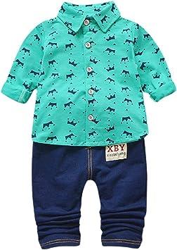 Conjunto Dos Piezas Niños Verano Camisetas y Pantalones Dibujos Animados Camisetas Camisas Cuello de Solapa Niños Manga Larga 1 a 5años Set POLP Niño Bebé Tops y Pantalones Cortos: Amazon.es: Equipaje