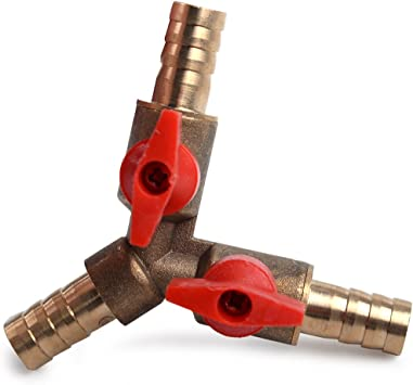 """3 Way Tee Brass Y Shut off Ball Valve 3//8/"""" 10mm Barb Fuel Gas Oil//Valve Clamp RS"""