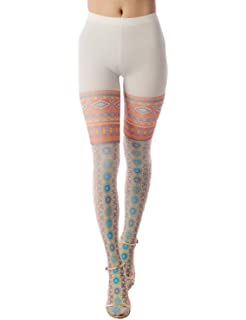 bb03f73c0b44f iB-iP Women's tribal prints soft nylon tibet fashion Mid Waist Pantyhose  Tights