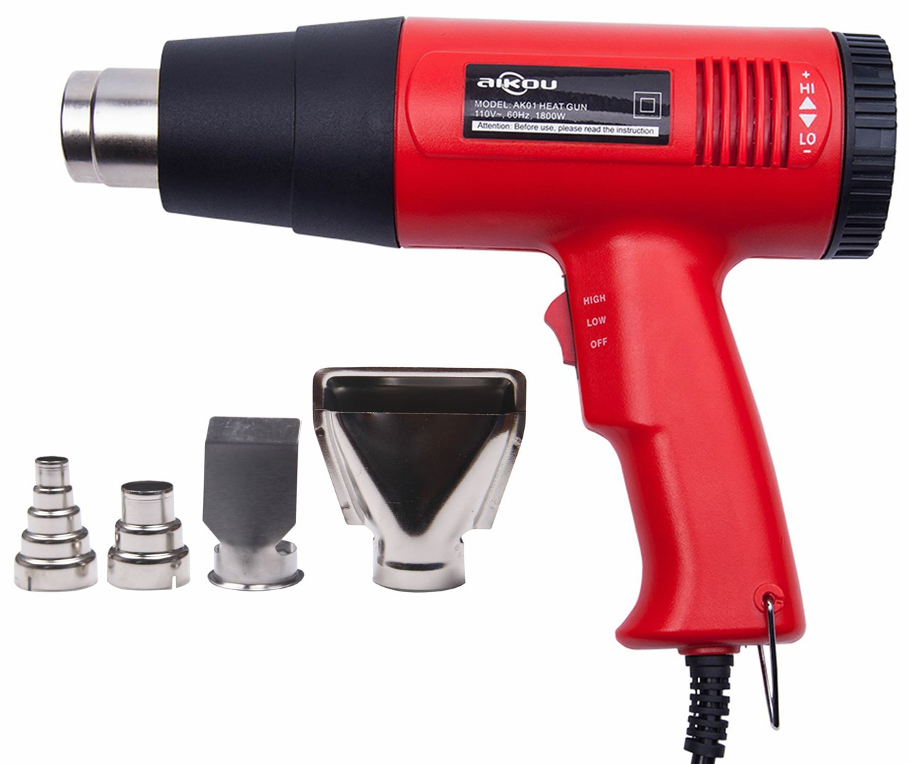 AIKOU 1800W Adjustable Temperature Power 110V Hot Air Heat Gun Fast Heating Blower Kits (Red)