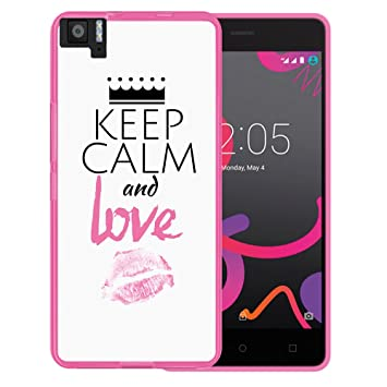 WoowCase Funda Bq Aquaris M5, [Bq Aquaris M5 ] Funda Silicona Gel Flexible Keep Calm and Love, Carcasa Case TPU Silicona - Rosa