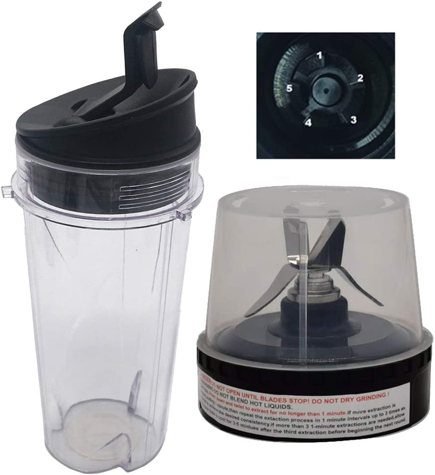 Nutri Blender Pro Extractor Blades and 16-Ounce (16 oz.) Cup with Sip & Seal Lid Fit for Ninja fit QB3000SS QB3000SSW and Ninja 2-in-1 QB3000 QB3004 QB3005(3, 16oz cup with lid +blade)