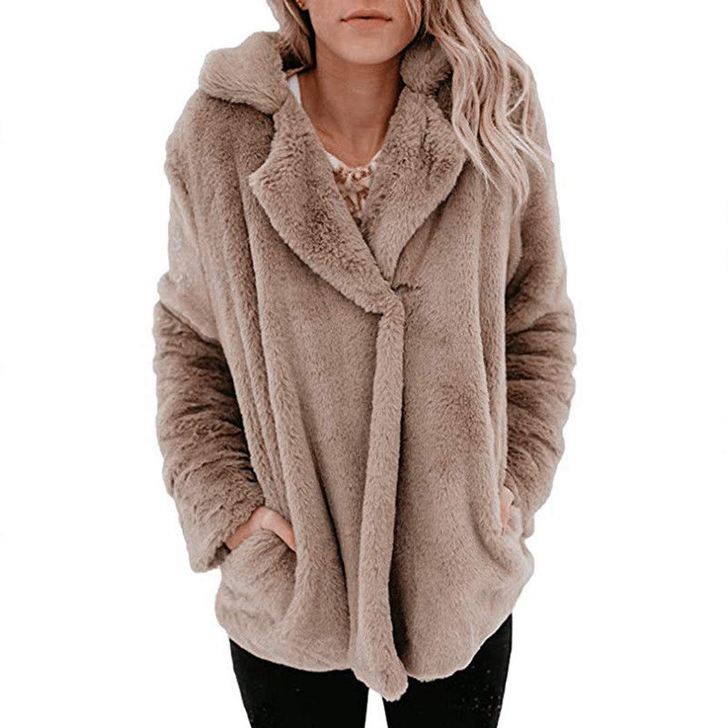 Women Fleece Coat Winter Warm Teddy Bear Fur Oversize Jacket Fluffy Outwear FUNOC