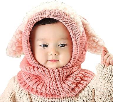 Ensemble mis Chaud Bonnet avec Oreilles pour Enfants 6-36 Mois Chapeaux tricot/é /écharpe Set pour b/éb/é Enfants Filles Gar/çons Luoistu Bonnet Hiver pour B/éb/é